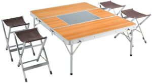アウトドアテーブルチェアセット 幅120cm 折り畳み式 軽量 アルミ 木目調 44400076 00【68948】|タンスのゲン