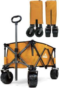 キャリーカート 耐荷重150kg 容量110L アウトドアワゴン 折りたたみ 軽量 大型タイヤ 4輪(マスタード) DABADA(ダバダ)