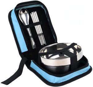 キャンプ 食器 アウトドア 食器セット 皿 スプーン 箸 ステンレス クッカーセット bbq 登山 旅行用 携帯便利 収納パック付き 1人用(ブルー) QD-SGMP