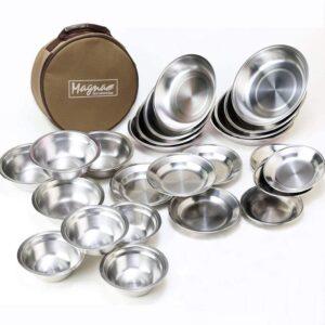 ステンレス食器セット 7種 たっぷり28枚 ファミリーセット 最大21cm(カフェオレ) MAGNA(マグナ)