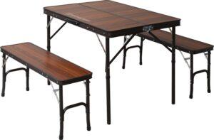 テーブルセット デュアルセパレート ブラウン テーブル(90×65×68(35)cm) チェア(87×25×40cm)×2脚 TF-DFS9065-3-BR|テントファクトリー (Tent Factory)