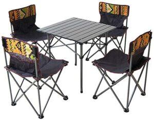 テーブルチェアセット 5点 椅子 背もたれ付き ピクニック アウトドア キャンプ レジャー 専用キャリーバッグ 収納袋 アルミ テーブル チェア セットレジャー キャンプ ベンチセット 防災 地震対策(5点セット)|INEKI