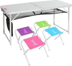 ハッピーテーブルセット 折りたたみテーブル 収納可能なチェア4脚付属 TB5-111|DOD(ディーオーディー)