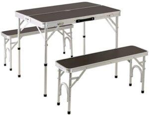 折り畳み テーブルセット チェア付き アウトドア アルミ ピクニック モダンブラウン ALPT-90 |クイックキャンプ