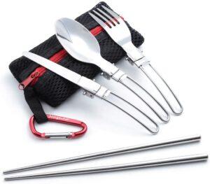 折畳式 シングル カトラリー メッシュタイプ 収納袋 フォーク スプーン ナイフ つなぎ箸 カラビナ 6点セット(ブラック) MAGNA(マグナ)