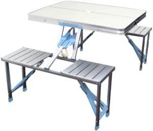 MERMONT アウトドア テーブル レジャーテーブル ベンチセット パラソル用ホール付き|WEIMALL(ウェイモール)