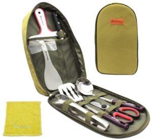 キャンプ 調理器具 便利 グッズ アウトドア BBQ バーベキュー セット 防災 用品 9ピース(グリーン)|SakuraZen