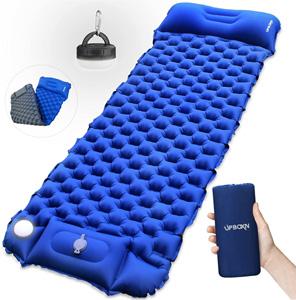 UPBOXN-エアーマット-キャンプマット-LEDキャンプライト付き「最新版」足踏み式-車中泊マット-アウトドアマット-幅広厚さ7CM-両面カラー-枕一体式-折畳み式-テントマット-寝袋マット