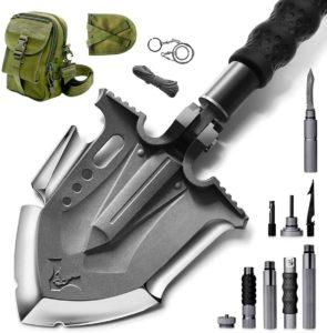 Zune Lotoo軍用サバイバルタクティカル折りたたみ式多機能キャンプスコップ・シャベルアウトドア ハイキング、バックパッキング、ガーデニング、狩猟 、車の緊急事態