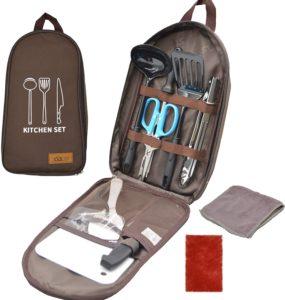 nda-style バーベキュー 12点セット キッチンツール クッキングツール 調理器具 キャンプ アウトドア グランピング(ブラウン)|nda-style