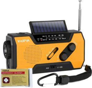 IntiPal 防災ラジオ ソーラー 手回しラジオ 2000mAH ライト 災害用 停電緊急対策 電波強い AM/FM 電池式/充電式 サバイバルシート付き オレンジ IntiPal 充電式ライト・ラジオ