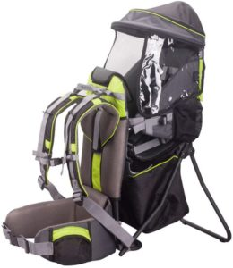 ベビーキャリアチャイルドバック登山旅行用の日よけ付き厚いパッドハイキングアウトドアキャンプ最大積載量20 kg,グリーン