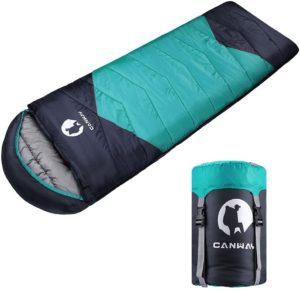CANWAY寝袋 スリーピングバッグ 封筒型 防水シュラフ 丸洗いできる コンパクト 簡単収納 軽量 カビ対策 キャンプ アウトドア 登山 車中泊 収納袋付き オールシーズン 1.9kg 防災用(グリーン)|CANWAY|寝袋・シュラフ
