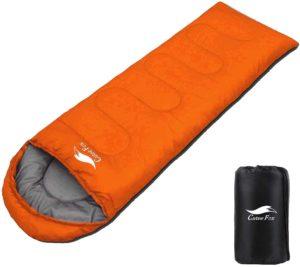CuteeFox 寝袋 丸洗できる 封筒型 シュラフ 1kg 1.4kg オールシーズン 夏用 冬用 軽量 防水 コンパクト 収納 アウトドア 登山 車中泊 防災用(オレンジ 1kgD)|DesertFox|寝袋・シュラフ