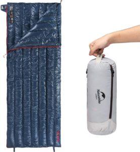 Naturehike2020版 高級ダウン 封筒型 寝袋 超軽量 オールシーズン 防水 2人用に連結可能 圧縮袋+メッシュ収納袋付(ネイビー)|ネイチャーハイク(Naturehike)|寝袋・シュラフ