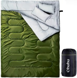 Ohuhu 寝袋 2人用 封筒型 丸洗いok シュラフ 連結可能 最低使用温度 -5度 枕付き|Ohuhu|寝袋・シュラフ