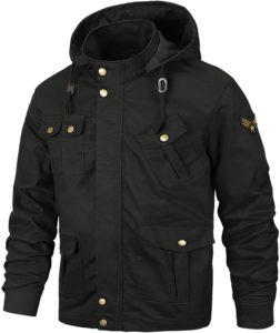 [SUKUTU] メンズジャケット メンズミリタリージャケット 長袖 着脱式フード ブルゾン カーゴ アウター バイク用 コート 防風 春 秋 冬(ブラック,XL)|コート・ジャケット 通販