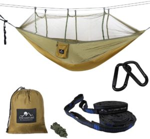 Wecamture ハンモック 蚊帳付き パラシュート 耐荷重 超広い 2人用 収納袋付き カラビナ付き 折畳み 公園 ハイキング 持ち運び簡単 (グリーン)|Wecamture|ハンモック