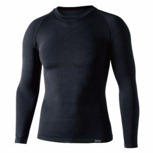 おたふく手袋 ボディータフネス デュアルクロス ロングスリーブ クルーネックシャツ ブラック S-Mサイズ JW-592:産業・研究開発用品