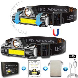 ヘッドライト 充電式 ledヘッドライト アウトドア用ヘッドライト 高輝度 超軽量 角度調整可 2個セット[集光・散光/ 明るさ300ルーメン/実用点灯4-10時間/IPX6防水/ 24ヶ月保証] 防災 停電時用 登山 夜釣り キャンプ 日本語取扱説明書 | AskJ | ヘッドライト