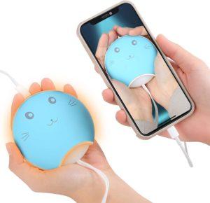モバイルパワー、ハンドウォーマーカイロスモールヒーター、両面高速熱48°C -55°C、USB、セット4000mAhポリマーリチウム電池の電池容量USB、自己完結型ソフトLEDナイトライト、軽力な省エネ屋外通勤学校のアンチスリーチック冬の贈り物を測定する(青): 大型家電