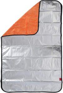 Basic Standard アルミ 毛布 4層 保温 ぽかぽか 静音 ブランケット 非常用 サバイバルシート アルミシート スペース暖シート 防寒 防災グッズ シルバー/オレンジ シングル: ホーム&キッチン