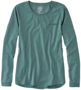 L.L.Bean(エルエルビーン) ウィメンズ Tシャツ エル・エル・ビーン・キャンプ・ティ、長袖 グラフィック 米国フィット・レギュラー XSサイズ Light Gray Heather Ombre Logo グレー 1000008062: 服&ファッション小物