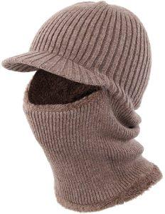 LeafIn ニット帽 目出し帽 両用 裏ボア フェイス マスク ネックウォーマー 防風 防寒 アウトドア用 スポーツ (カーキ): 服&ファッション小物