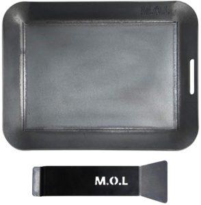 M.O.L 極厚アウトドア鉄板 M (15cm×20cm×4.5mm厚/取手&ヘラ付き/フチ有り) | ミナトワークス | 鉄板・網