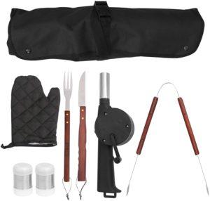 NUOLUX バーベキュー 調理器具 BBQ セット クッキングツール アウトドア キャンプ用品 料理器具 ステンレス素材 エプロン 8点セット | NUOLUX | BBQトング